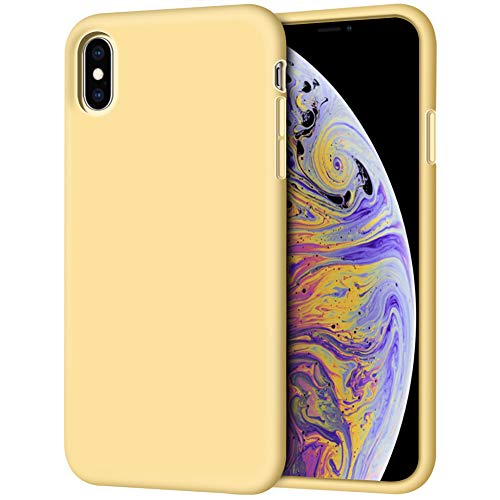 iPhone Xs Max Case, Anuck Soft Silicone Gel Rubber Bumper Case Anti-Scratch Microfiber Lining Hard Shell Shockproof Full-Body Protective Case Cover for Apple iPhone Xs Max 6.5 2018 - Yellow