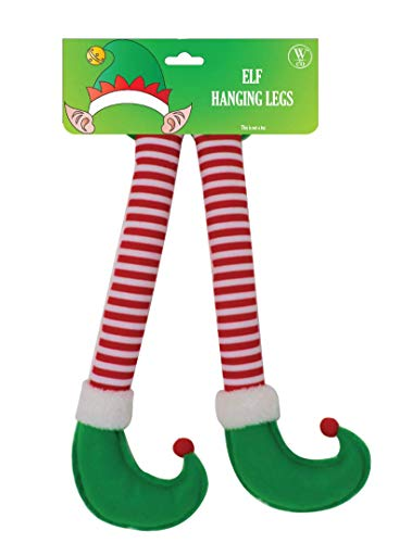 Win&Co Christmas Car Auto Decorations Accesory Elf Hanging Legs Sticking Out of Trunk (Green)
