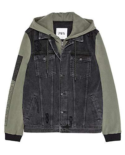 Zara Men Contrast Hooded Denim Jacket 1889/402 (Medium) for sale  Delivered anywhere in USA