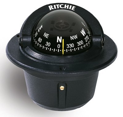 (Ritchie F-50 Outdoor Mounting Hole Explorer Marine Compass Flush Mount Black)