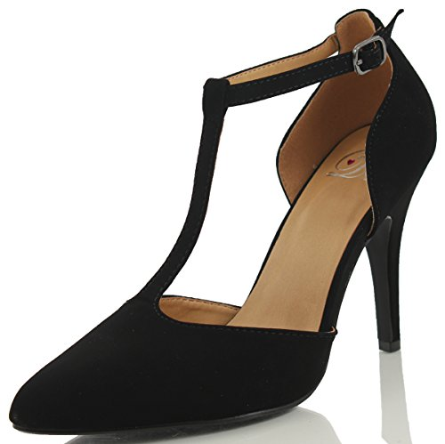 Delicious Womens Kolette Faux Nubuck Leather Pointy Toe T-Strap Single Sole High Heels Black