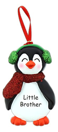 Brother / Sister Expressions Glittery Penguin Ornament (Little (Little Brother Ornament)