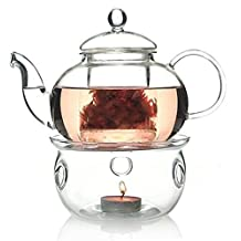 TEAliSe 27 OZ Glass Filtering Infuser Tea Maker Teapot With a Warmer