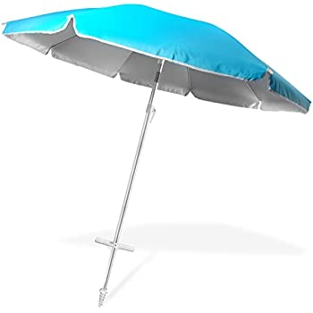 Ohuhu 8 FT Beach Umbrella, Patio Umbrella W/ Tilt, Telescoping Pole, Screw