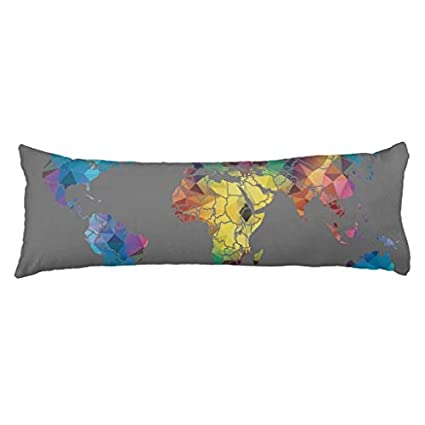 Decorative Body Pillow Covers.Amazon Com Ploekdu World Map Body Pillow Covers 20 X 54