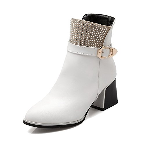 AllhqFashion Women's Kitten-Heels Assorted Color Round Closed Toe Soft Material Zipper Boots