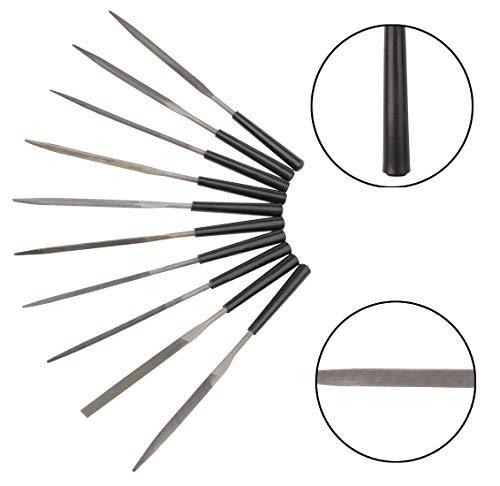 Mini Needle Files Set, Kattool 10PCS 3x140mm Jewelry File Set Assorted Needle Files Set Metal File Hand Files for Metal Glass Stone Wood Trimming, Pack of 10
