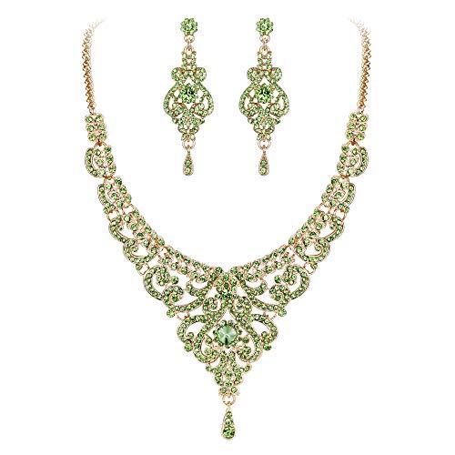 EVER FAITH Women's Austrian Crystal Elegant Wedding Vase Flower Necklace Earrings Set Green Gold-Tone (Austrian Crystal Flower)