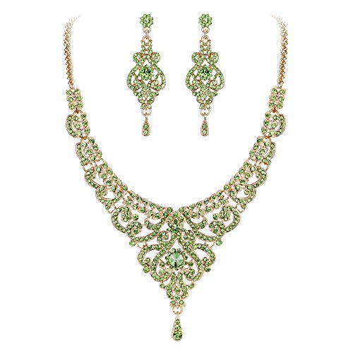 - EVER FAITH Women's Austrian Crystal Elegant Wedding Vase Flower Necklace Earrings Set Green Gold-Tone