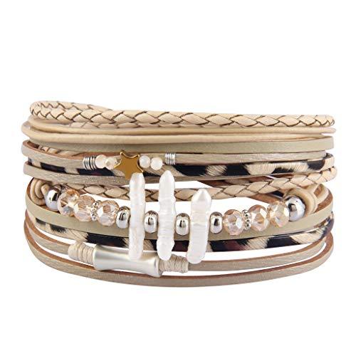 - AZORA Leather Wrap Bracelet for Women Multi Rope Cuff Bracelets with Pearl & Rhinestone Handmade Charm Wristband Gift for Teen Girls Lady (Beige Bracelet for Women)