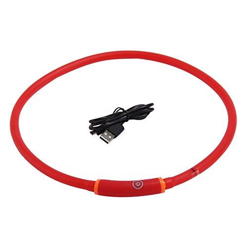 LED collar de perro, recargable por USB, banda de luz intermitente de moda cinturón de seguridad resplandeciente para perros...