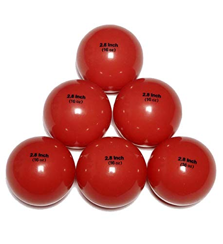 Innocrossover 6 Pack Weighted Baseball/Softball Heavy Training Balls | Practice Hitting, Batting and Pitching with Complete Control Powerball, 1LB (16OZ) (16oz-red)