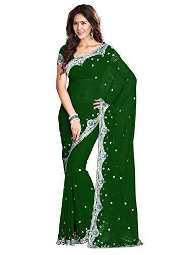 Women's Designer Wedding Bollywood Indian Saree Dark Green Mirchi Fashion Partywear Dress