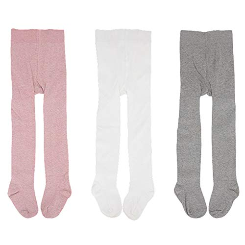 Baby Toddler Girls Cable Knit Tights (3 Pack, White/Grey/Pink, Baby (12-24 Months))