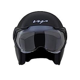 Vega Jet Open Face Helmet (Black, L (58 cm))