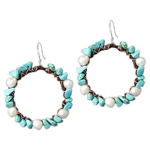 Copper Wire Simulated Turquoise & Cultured Freshwater White Pearl Hoop Dangle Earrings