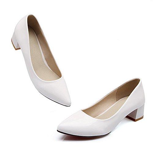 Balamasa Dames Stevige Hakken Laag Uitgesneden Bovenzijde Winkle Pinker Laklederen Pumps-schoenen Wit