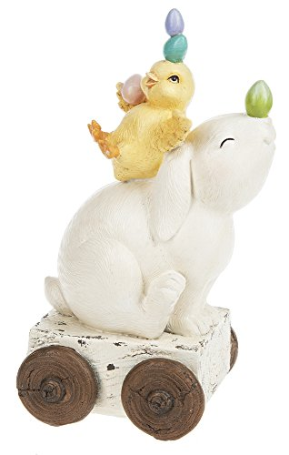 Ganz Easter Spring Decor 9 in Bunny and Chick Balancing Eggs Figurine ()