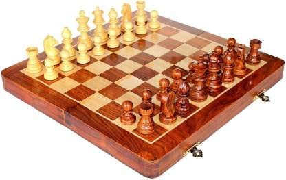 BUSINESS PEOPLES Wooden Chess Board Set | Magnetic Chess Pieces | Hand Crafted Coins (10 Inch, Box Design)