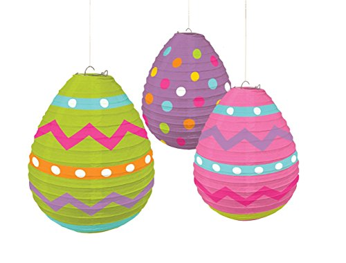 Amscan Egg Shaped Paper Lanterns, 3 pieces ()