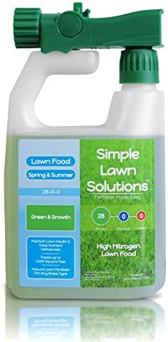 Maximum Green & Growth- High Nitrogen 28-0-0 NPK- Lawn Food Natural Liquid Fertilizer- Spring & Summer- Any Grass Type- Simple Lawn Solutions, 32 Ounce- Concentrated Quick & Slow Release Formula