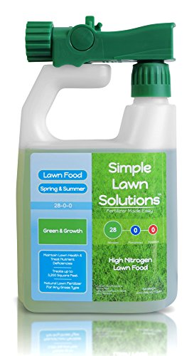 Liquid Fertilizer Nitrogen - Maximum Green & Growth- High Nitrogen 28-0-0 NPK- Lawn Food Natural Liquid Fertilizer- Spring & Summer- Any Grass Type- Simple Lawn Solutions, 32 Ounce- Concentrated Quick & Slow Release Formula