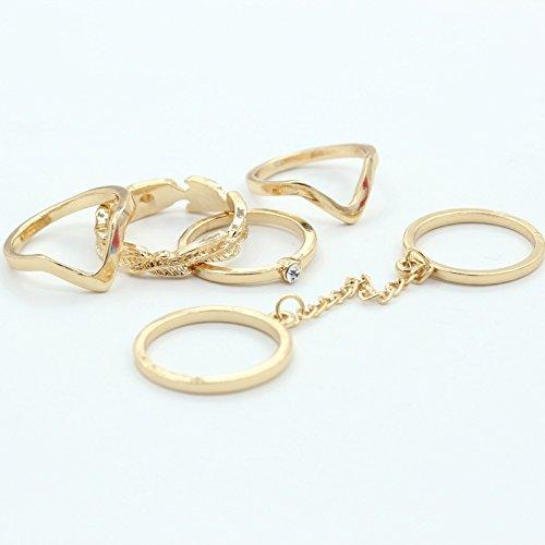 5 Pcs Alloy Diamond Leaves Rings - 5