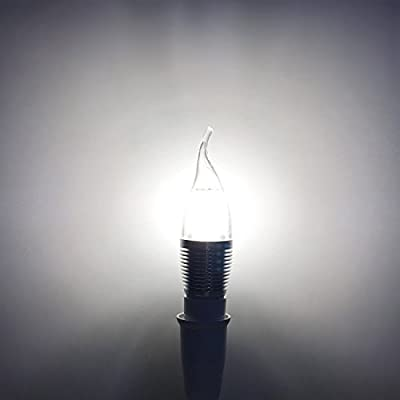 Bogao (5 Pack) LED Candelabra Bulb, 9W Daylight White 6000K LED Candle Bulbs, 90 Watt Light Bulbs Equivalent, E12 Candelabra Base,900 Lumens LED Lights,Torpedo Shape