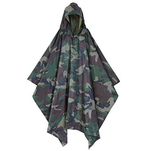 (EBTOOLS Waterproof Army Hooded Ripstop Rain Poncho, Festival Raincoat for Military Woodland Camping Hiking (Jungle Camo))