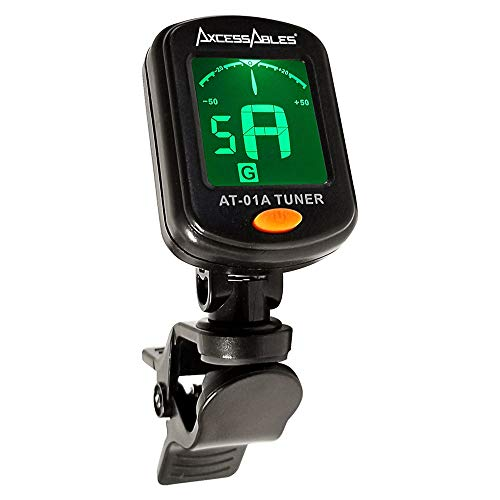Chromatic Auto Tuner - AxcessAbles AT-01A Clip-On Guitar Tuner for Chromatic Guitar Bass Ukulele Violin