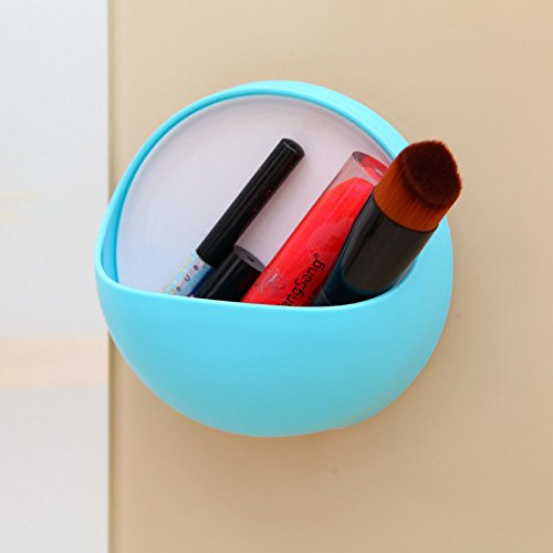 Juenana Wall Suction Cups Soap Toothbrush Toothpaste Holder Bathroom Organizer Soap CupsBlue