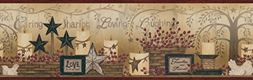 Chesapeake CCB2281 Country Caring Candles Dark Red Border