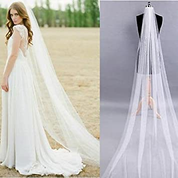 White 2M Long Prom Gown Wedding Bridal Veil Cathedral Length With Comb