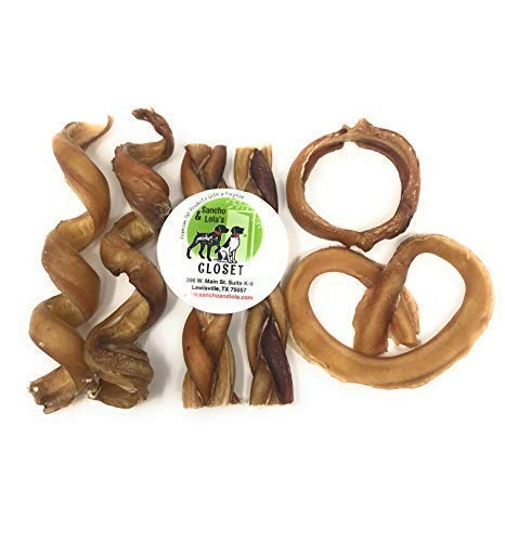 Sancho & Lolas Bully Stick for Dogs Made in USA - Variety Fun Pack -Bully Rings, Spirals, Braids & Pretzel - Gourmet Beef Pizzle Beef Dog Chews Rawhide-Free