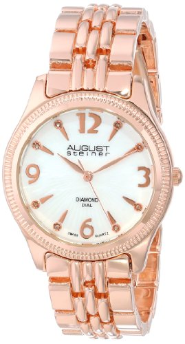 August Steiner Women's AS8089RG Swiss Quartz Diamond Mother-of-Pearl Rose-tone Bracelet Watch