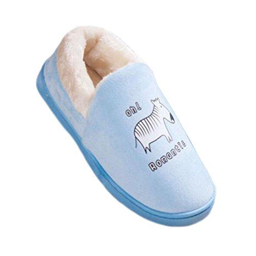 Männer Frauen Indoor Hausschuhe Winter Boden Hausschuhe Familie Baumwolle Warm Hausschuhe Schuhe-Zebra Hellblau