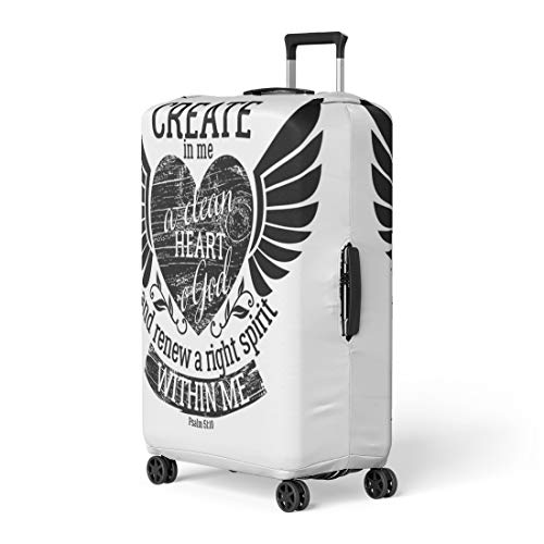 Pinbeam Luggage Cover Biblical Christian Lettering Create in Me Clean Heart Travel Suitcase Cover Protector Baggage Case Fits 22-24 inches