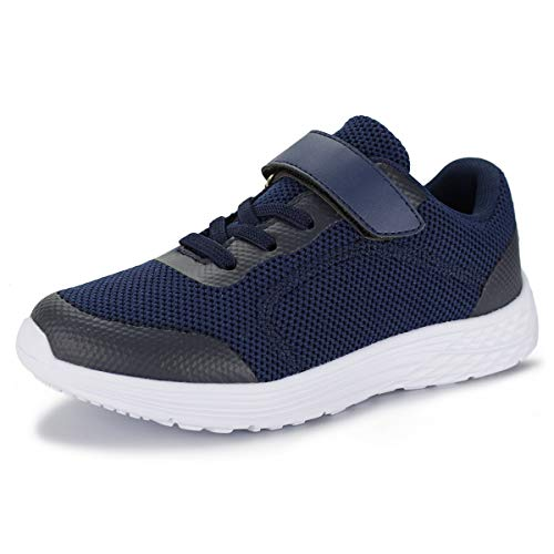Hawkwell Kids Sneaker Breathable Athletic Trail Running Shoes,Navy Mesh,3 M US Little Kid