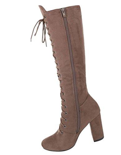 Damen Stiefel Schuhe Schnürer Schwarz Grau Hellbraun 36 37 38 39 40 41 Hellbraun