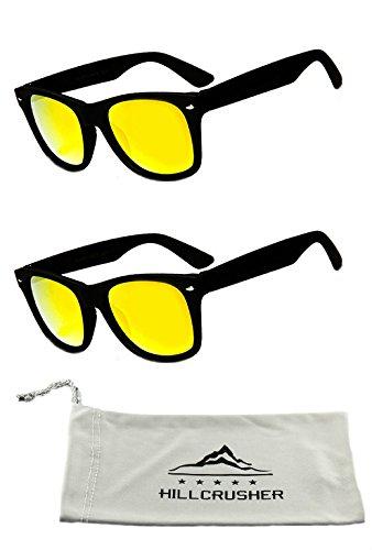 22ca0e66fa Hillcrusher Kids 60mm Soft BMX Rubber Coated Wayfarer Sunglasses (2 Pack  Gold)