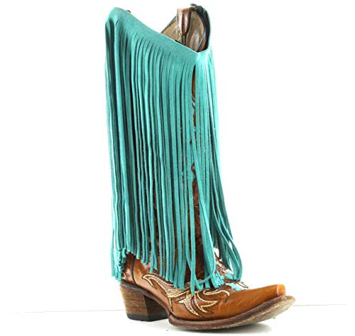 HHH Designs Turquoise/Blue Leather Fringe (Embellishment for Purses, Jackets or Other Accessories) ()