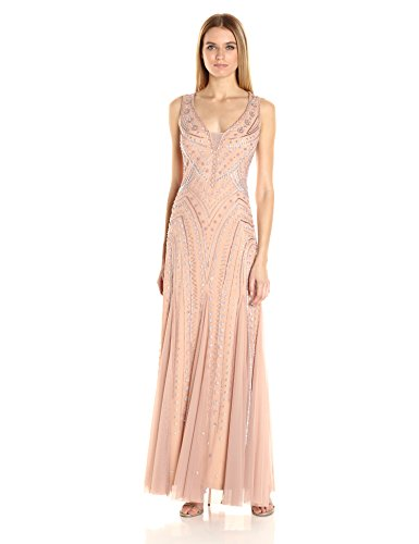 Adrianna Papell Women's Beaded Plunging V Neck Gown, Rose Gold, - Gold Adrianna