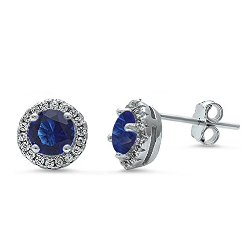 Sapphire Pink Earrings Simulated Necklace (8mm Halo Wedding Stud Earrings Simulated Blue Sapphire Round CZ 925 Sterling Silver)