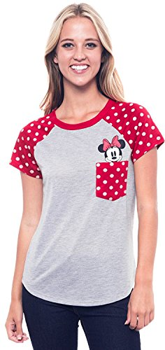 Disney Junior T-Shirt Minnie Mouse Peeking Out of Pocket Print Tee (XL) Grey