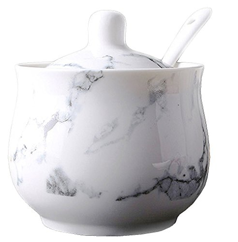 Ceramics Marbling Sugar Salt Pepper Storage Jar Seasoning Pot with Lid And Spoon by 123Arts