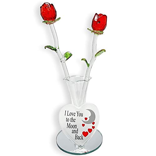 BANBERRY DESIGNS Crystal Flower Bouquet - Set of 2 Red Roses in a Heart Shaped Vase - I Love You to The Moon and Back - Mother's Day Valentine's Day Engagement Wedding Christmas Anniversary