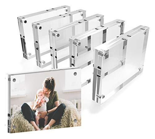 Mammoth AAA Grade Acrylic Magnetic Picture Frame, Contemporary Double Thick (20mm) Design, Double Sided Acrylic Photo Frames Frameless Desktop Display with Gift Box Package (4x6-5 Pack) ()