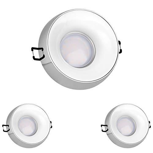 3er LED Einbaustrahler Set Chrom mit LED GU10 Markenstrahler von LEDANDO - 5W DIMMBAR - warmweiss - 110° Abstrahlwinkel - 35W Ersatz - A+ - LED Spot 5 Watt - Einbauleuchte LED rund