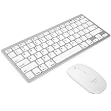 HDE Slim Bluetooth 3.0 Ultra Thin Portable Keyboard & Wireless Optical Mouse w/ Adjustable DPI (White Mouse / Silver Keyboard)