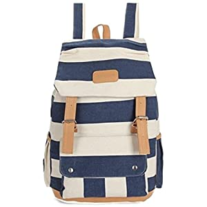 【Shikyou JP】 Navy Style Useful Canvas Backpack School Bag Marine Stripe Design Bags 15.4 inch tall (Blue )